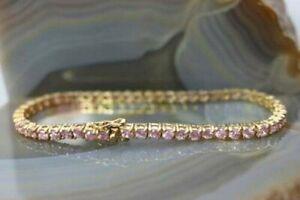 """9.50Ct Pink Sapphire Estate Pretty Tennis Bracelet, 7.5"""" Long 14k Yellow Gold Fn"""