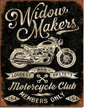 WIDOW MAKERS CYCLE CLUB - LARGE METAL TIN SIGN 40.6CM X 31.7CM GENUINE AMERICAN