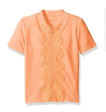 New! Girls SEAFOLLY Zip Rashie Short Sleeve Rash Guard , Rockmelon, Size 6T