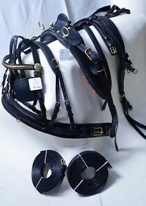 Original Black Gig Leather driving harness Best Quality On eBay Full, Cob, pony