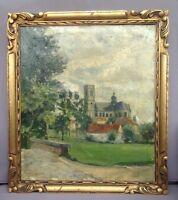 Altes Gemälde Öl-Gemälde auf Leinwand Bild Landschaft Kathedrale Kirche Kloster