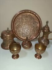 STUNNING ORIGINAL VINTAGE 6 PIECE TURKISH/ISLAMIC EMBOSSED  COPPER TEA SET