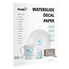 Koala 20 Sheets 8.5x11 CLEAR Inkjet Waterslide Decal Transfer Paper Decor DIY