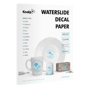Koala Inkjet Waterslide Decal Paper CLEAR 20 Sheets 8.5x11 Water Slide Transfer