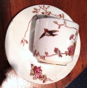 Tasse à café ancienne, porcelaine de Limoges, trois décors, JPL France, déb. XXe