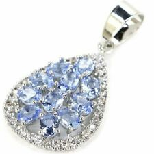 14k White Gold Plated Women's Pear Shaped Oval Cut Charm Pendant 925 Silver Over