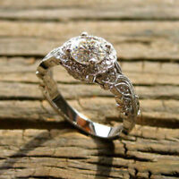 0.75 Ct Vintage Antique Art Deco Engagement Ring 14K White Gold Over
