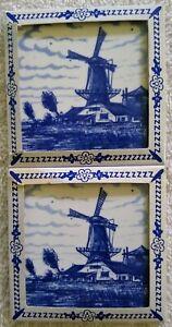 "3"" Vintage Delft Blue Windmill Decorative Tile Lot Hotel Ibis Amsterdam Holland"