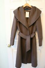 Woman's Cole Haan Long Brown Belted Coat Size 2 New with Tags