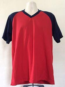 Vtg 80s Champion Brand Blank Jersey Style Raglan T-Shirt Red XL