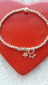 Womens silver plated ball bead star charm stretchy stacking bracelet, gift 🌟