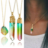 Rainbow Stones Natural Crystal Chakra Rock Chain Quartz Pendant Necklace Jewelry
