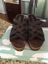 DONALD J PLINER Metallic Mesh Cork Wedge Sandals Size 7M #5