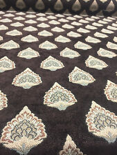 25 YARD ROLL Emblem Chenille Fabric Brown Beige Upholstery  couch chair curtains