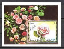 Fleurs - Roses Um al Qiwain (159) bloc oblitéré