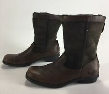 Womens Ugg Brookfield Boots Brown Leather Suede Size 8