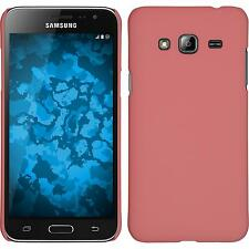 Hardcase Samsung Galaxy J3 rubberized pink Cover + protective foils