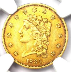 1834 Classic Gold Quarter Eagle $2.50 Coin - Certified NGC AU55 - High Grade!