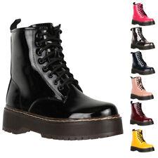 Elara Damen Stiefeletten Worker Boots Stiefel Outdoor Schuhe Bequeme Schnürstief