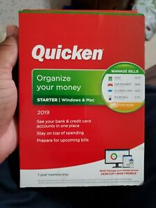 Quicken Starter 2019 Windows & Mac 1 Year Membership Organize Your Money NEW