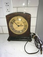 Vintage 1930's Hammond Sychronous Wood Case Electric Mantel Clock Working!