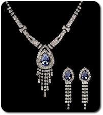 SET Collier Ohrstecker Perlen Strass Kette Perlenkette Blumen Tropfen Blätter