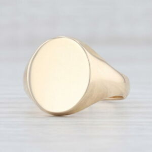 New Men's Engravable Signet Ring 14k Yellow Gold Size 10.5