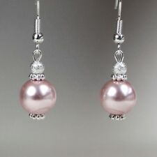 Blush pink pearls silver short drop dangle earrings wedding bridesmaid gift
