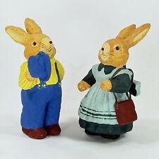 """Primitive Folk Art Paper Mache Rabbit Couple 5"""" Figurine Set 2Pc Purse Hat"""