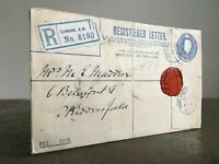 Antique WW1 REGISTERED LETTER Envelope Red Wax Seal LONDON S.W. No.6180 Aug 1918
