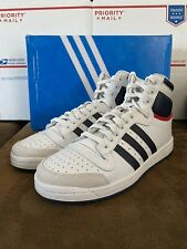 Adidas Men's Top Ten Hi Top Sneaker Basketball Shoes in White/Navy - Size 9M