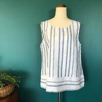 JACQUI E BNWT Blue White Linen Stripe Sleeveless Top Tank Size 12 (RRP $89.95)
