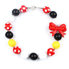 Red Knot Christmas Chunky Bubblegum Girls Necklace Spot Beads Kids Baby Necklace