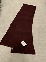 NWT UGG Cable-Knit Scarf Wool Blend Burgundy Wine Winter #18380