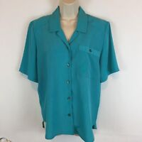 TanFjay Womens Blouse Sz 6 Polyester Front Button Blouse Top Shirt SS Turquoise