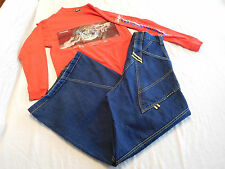 Vintage GAT Jeans Reflective 90s Rave Raver 28 W + JNCO Jeans Shirt Small