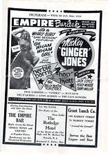 EMPIRE BURLESK PROGRAM - JANUARY 30, 1953 - FEATURING MICKEY GINGER JONES