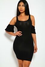 Sexy Bodycon Black Dress Ruffle Bare Shoulder Tight Hot Party Night Club Outfit