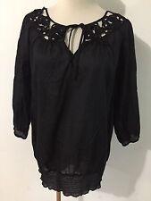 Calvin Klein Key-Hole Peasant Top Blouse Semi-Sheer Black Size S
