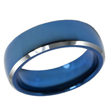 Tungsten Carbide Ring 6mm Blue IP Polished Dome Bevel Edge Wedding Band Comfort
