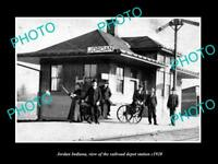 OLD LARGE HISTORIC PHOTO OF JORDAN INDIANA, THE RAILROAD DEPOT STATION c1920