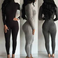 Women Zipper Cowl Neck Clubwear Playsuit Bodycon Party Jumpsuit Romper Trousers