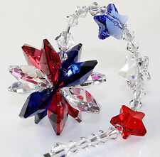 m/w Swarovski Crystal ~ Proud To Be An American Ii Starburst Suncatcher Ornament