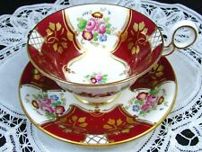 RADFORDS GOLD GILT FOLIAGE FLORAL RICH RED TEA CUP AND SAUCER