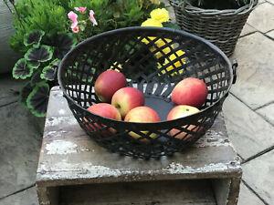 Vintage Indian Steel Lattice Bowl Basket Vegetable Fruit Storage Kitchen 2