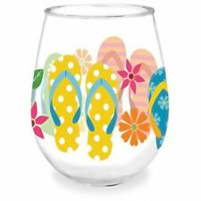 Colorful Flip Flop Shatterproof Single Stemless Wine Glass Flipflop Beach Theme