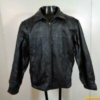St. JOHN'S BAY Leather JACKET mens Size M MEDIUM Black insulated zippered