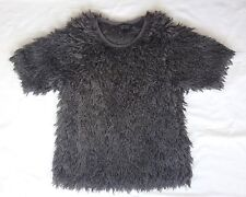 EX CON Topshop Size 10 Top Grey Knit Boxy Loose Casual Fuzzy Mohair Short Sleeve