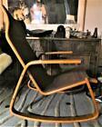 Ingmar Relling Westnofa Scandinavia Teak Rocking Chair-Vtg.Ikea Black Leather