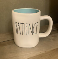 Rae Dunn - PATIENCE LL - White Ceramic Coffee Mug w/ Teal Interior
